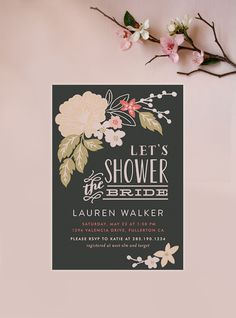 Spring Bridal Shower inspiration via Minted artist Alethea and Ruth's Pressed flowers bridal shower invitation.