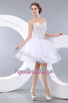 Buy clearance puffy short organza white homecoming dress with rhinestones  from white homecoming dresses collection 022897e4b