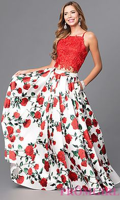 Long Print and Embroidered Two Piece Prom Dress at PromGirl.com