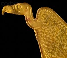 Gold amulet in shape of a vulture, from the tomb of King Tutankhamun. 18th dynasty, ancient Egypt.