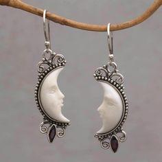 Garnet dangle earrings, 'Natural Moonlight' - Garnet and Silver Crescent Moon Dangle Earrings from Bali Garnet Earrings, Sterling Silver Dangle Earrings, Moon Earrings, Handmade Sterling Silver, Silver Necklaces, Clay Earrings, Silver Jewelry, Bridesmaid Earrings, Bridal Earrings