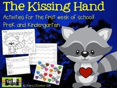 Welcome your kids back to school with activities based on the book, The Kissing Hand by Audrey Penn.  This is a super sweet story about coping with the anxiety of going to school for the first time, with a heartwarming act by the mother.  You'll receive activities to help your students practice some beginner skills....- name practice sheet- gluing practice sheet- 4 cutting practice sheets- handprint art (this is great memento to send home to parents)- 2 coloring pages- bingo game