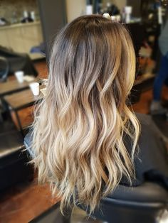 Balayage blonde highlights and shadow root by Danielle Mikolaizik