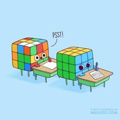 I've Always Been The Cube In The Back 😅 Which One Are You? #cute #kawaii #rubik #rubikcube #exam #funny #cute #lovely #aww #awesome #illustration #comic #comicstrip #humorous