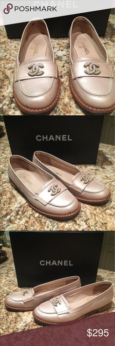 Chanel loafers with logo Comfy Authentic Chanel loafers. Beautiful beige tone patent leather with Chanel logo. Unique . CHANEL Shoes Flats & Loafers