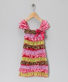 Take a look at this Pink & Green Leopard Ruffle Dress - Infant, Toddler & Girls by Under The Hooded Towels on #zulily today!