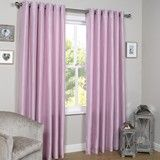 Pink Faux Silk Lined Eyelet Curtains