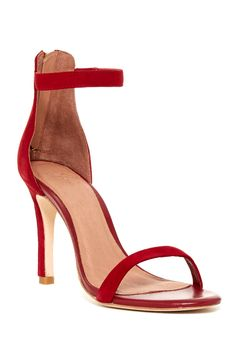 Red hot ankle strap sandals.