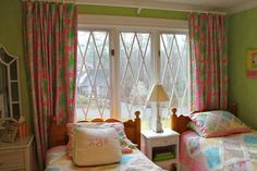 Drapes made from two of Lilly Pulitzer's king flat sheets in Monkey Trouble Hibiscus