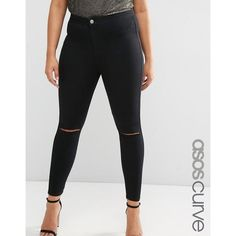 ASOS CURVE Rivington Jegging in Clean Black with Rips ($40) ❤ liked on Polyvore featuring pants, leggings, black, plus size, women's plus size pants, high rise jeggings, tall leggings, plus size jeggings and skinny jeggings