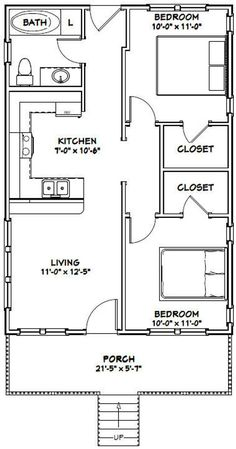 Combine bedrooms to make 1 master with large bathroom and walk in closet and make service porch for freezer washer dryer instead of bathroom in House -- -- 704 sq ft - Excellent Floor Plans Guest House Plans, 2 Bedroom House Plans, Small House Floor Plans, Cabin Floor Plans, Cottage House Plans, Craftsman House Plans, Dream House Plans, Guest Cottage Plans, Tiny House 2 Bedroom
