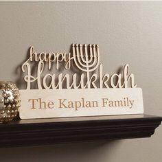 Happy Hanukkah Personalized Wood Plaque, Multicolor