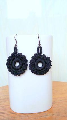Crochet  Earrings Black Earrings Crochet Black Earrings by knittee