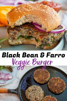 A black bean vegetarian burger that's full of flavorful fresh herbs and spices and chewy farro. Perfect for a meatless family dinner, or dinner party. Best Veggie Burger, Meatless Burgers, Tasty Vegetarian Recipes, Vegan Meals, Vegan Food, Burger Mix, Farro Grain, How To Cook Beans, Kitchens