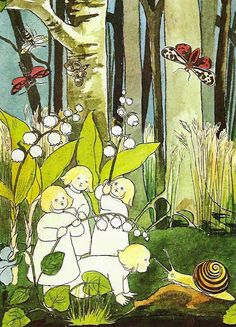 "Illustration from ""The Story of the Root-Children"" by German children's book author Sibylle Von Olfers Art And Illustration, Book Illustrations, Fairy Land, Fairy Tales, Elsa Beskow, Baumgarten, Flower Fairies, Vintage Children's Books, Lily Of The Valley"