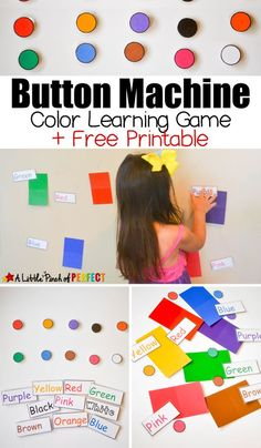 Button Machine Color Learning Game With Free Printable Kids Can Actively Learn Colors While Playing