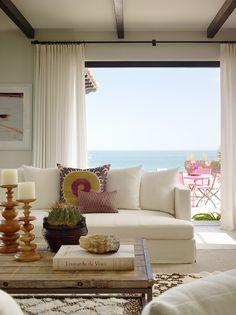 Room with a view. Design by Kara Mann // suzani, white sofa, gorgeous white curtains. Coastal Living Rooms, Home Living Room, Living Spaces, Living Area, Beach Cottage Style, Beach House Decor, Beach Houses, Coastal Style, Beach Cottages