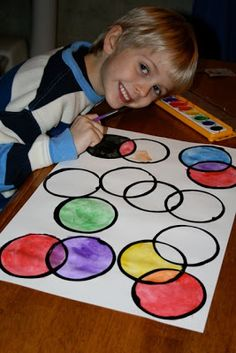Color mixing art activity, via Five Walkers - together one step at a time - Our Journey