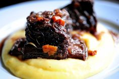 Braised Short Ribs - with pancetta, rosemary, and red wine jus, on goat-cheese polenta l The Pioneer Woman