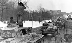 Leibstandarte tank column pauses before entering the maelstrom that is Kharkov. The obsolete Panzer II tanks were used for liaison and reconnaissance tasks at this stage in the war, March 1943.