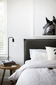 Option for Bed head. Rupert Bedhead in Washed Charcoal Linen. Love the simplicity of this. Would go very well with your current bed linen - Modern Bedroom Linen Headboard, Linen Bedding, Bed Linens, Headboard Ideas, Black Headboard, Gray Bedding, Rustic Bedding, Modern Bedding, Black Bed Linen