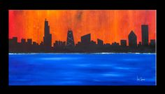 Chicago City Skyline Colorful Large Original Modern Abstract Painting Contemporary Fine Art gallery Canvas by GINO SAVARINO
