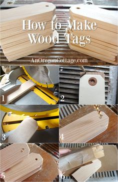Diy Wood Tags Tutorial for making DIY wood tags out of pine fir or scrap wood Also includes 3 ways to finish them into gifts home decor and organizing helps Scrap Wood Crafts, Scrap Wood Projects, Diy Craft Projects, Craft Ideas, Furniture Projects, Wood Furniture, Fabric Crafts, Chalkboard Tags, Wood Craft Patterns
