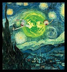 Rick and Morty's Starry Starry Night. Rick And Morty Quotes, Rick And Morty Poster, Rick And Morty Drawing, Rick I Morty, Ricky And Morty, Tattoo Zeichnungen, Vincent Van Gogh, Oeuvre D'art, Cartoon Art