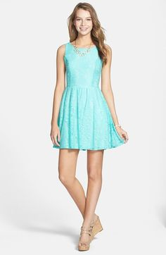 Mimi Chica Lace Skater Dress (Juniors) | Nordstrom