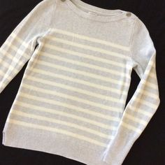 "J. CREW, LOWEST PRICE White & Gray Cotton Sweater NWOT, 34"" arm pit to arm pit. Beautiful heathered gray and soft white stripes. 100% cotton. Nice! PRICE FIRM. THANK YOU. J. Crew Sweaters"