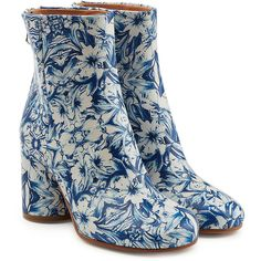 Maison Margiela Printed Leather Ankle Boots (€619) ❤ liked on Polyvore featuring shoes, boots, ankle booties, multicolored, blue bootie, real leather boots, blue leather boots, floral ankle boots and leather booties
