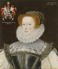 English: Portrait of Jennet Parkinson, wife of Cuthbert Hesketh of Whitehill, Lancashire. 1580