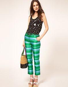 Green and Blue Striped Capri Pants - Sonia By Sonia Rykiel