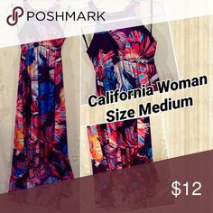 California Woman Dress, Size Medium Beautiful, floral long dress made by California Woman, Size Medium. In Excellent Used Condition. California Woman Dresses