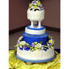 Blue and yellow wedding - Round Wedding Cakes
