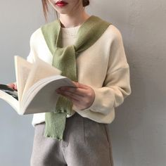 Casual Long Sleeve Sweater Solid Women Fashion Knitted Pullover Tops Female With Shawl Two Piece Sets Pullover