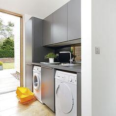 Wirtschaftsraum Abstellraum Wohnideen Möbel Dekoration Decoration Living Idea Interiors home storeroom utility room - Moderne graue Hauswirtschaftsraum mit minimalistische Ästhetik