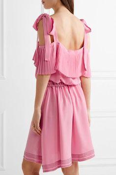 Paul & Joe - Cold-shoulder Silk Crepe De Chine Dress - Pink - FR34