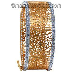 22 Karat Gold Astonishing CZ Aayat Openable Kara. SKU # 45-04297 http://www.malanijewelers.com/newarrivals-22-karat-gold-jewelry.aspx
