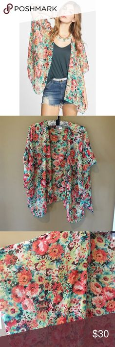 Floral kimono New without tags floral Kimono.  No trades or modeling! Size m/l Band of Gypsies Tops