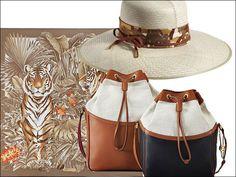 Foulard con stampa safari Salvatore Ferragamo , secchiello di lino e pelle Trussard cappello di paglia con fascetta di seta e pelle.