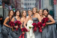 Bridesmaid dresses in the same fabric but different necklines give your girls a flattering option no matter their style.