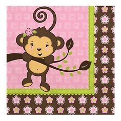 Monkey Girl - Baby Shower Luncheon Napkins - 16 ct | BigDotOfHappiness.com