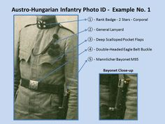 Austro-Hungarian Infantry Photo ID - Example No. 1. 1914 - 1918. WW1.