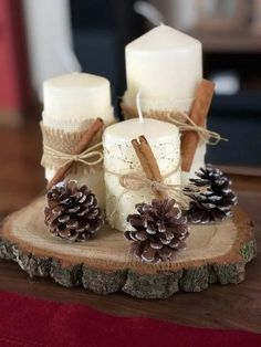 70 simple and popular christmas decorations table decorations christmas candles diy christmas centerpiece christmas crafts christmas … Homemade Christmas Decorations, Diy Christmas Ornaments, Thanksgiving Decorations, Simple Christmas Crafts, Christmas Decorating Ideas, Christmas Decorations Diy Crafts, Rustic Thanksgiving, Thanksgiving Crafts, Xmas Crafts