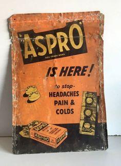 Antique Old Original Rare Aspro Medicine Tablet Tin Sign Board  #AsproTablet