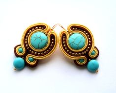 turquoise yellow brown and gold   soutache earrings by KimimilaArt,