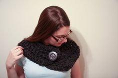 Grey Cowl Scarf Collar Crochet Wool Blend Scarf by whiskeystitch, $39.50