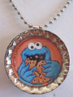 Cookie Monster bottle cap necklace