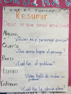 Resumir :: summarize :: 3rd grade literacy :: anchor chart :: bilingual